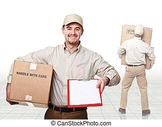 livraison, travail, homme