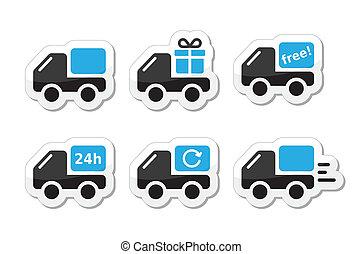 livraison, vecteur, voiture, expédition, icônes