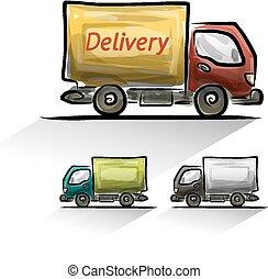 livraison, voiture, ensemble