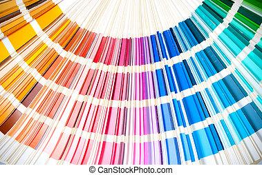 livre, arc-en-ciel, étalage, couleurs, swatches, projection, ouvert, coloré