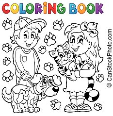 livre coloration, animaux familiers, enfants