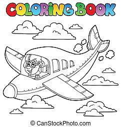 livre, coloration, aviateur, dessin animé