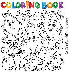livre, coloration, cerfs volants, trois
