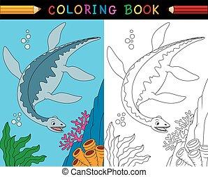 livre coloration, dessin animé, plesiosaurus