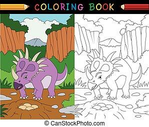 livre, coloration, dessin animé, styracosaurus