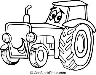 livre coloration, dessin animé, tracteur