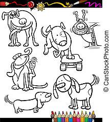 livre, coloration, ensemble, chiens, dessin animé