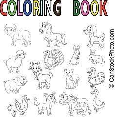 livre, coloration, ferme, dessin animé, animal