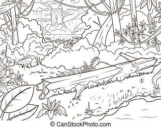 livre coloration, forêt, waterfal, dessin animé, jungle