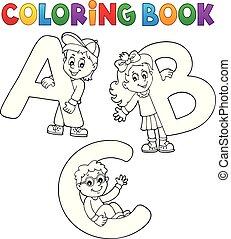 livre, coloration, lettres, abc, enfants