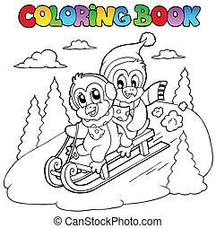 livre coloration, pingouins, sledging