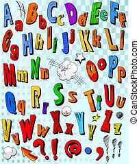 livre comique, alphabet