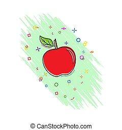livre, comique, effect., style, icône, éclaboussure, pomme, plat, icon.