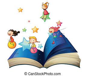 livre, enfants jouer