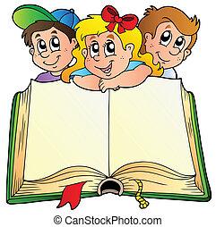 livre, enfants, ouvert, trois