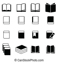 livre, ensemble, icône