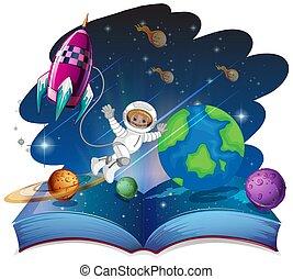 livre, espace, scène, surgir