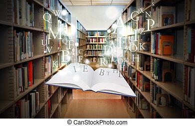 livre, esprit, flotter, bibliothèque, education