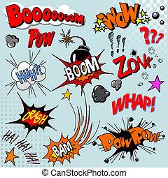 livre, explosion, comique