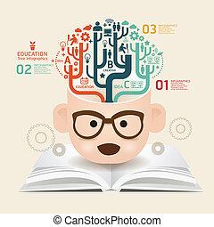 livre, gabarit, utilisé, lignes, coupure, infographics, /, vecteur, site web, coupure, horizontal, graphique, papier, diagramme, style, être, disposition, créatif, ou, boîte