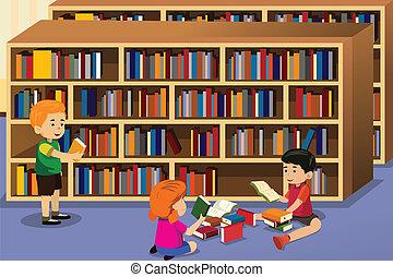 livre, lecture, gosses