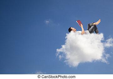 livre, lecture, nuage, relâcher