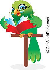 livre lecture, perroquet, dessin animé