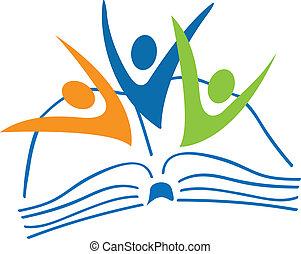 livre, logo, étudiants, figures, ouvert