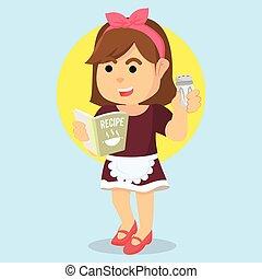 livre, recette, femme foyer, tenue
