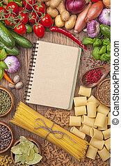 livre, recette, légumes frais, vide