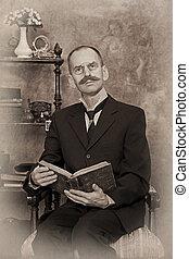 livre, sépia, portrait, lecture homme