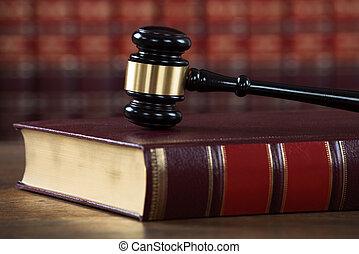 livre, salle audience, légal, maillet