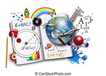 livre, science, ouvert, math, apprentissage
