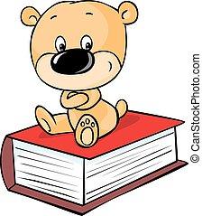 livre, teddy, isolé, ours, séance