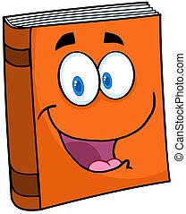 livre texte, caractère, dessin animé, mascotte