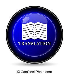 livre, traduction, icône
