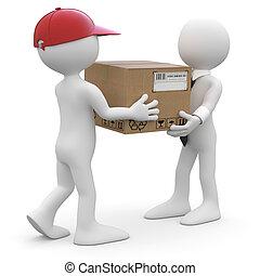 livrer, paquet, ouvrier