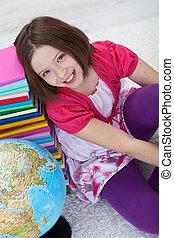 livres école, globe, girl, heureux