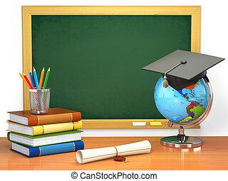 livres école, mortier, concept., tableau noir, planche, education, globe