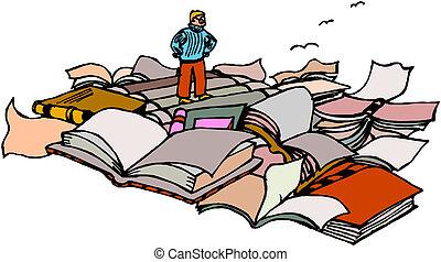 livres, écolier, énorme, tas