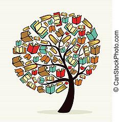livres, concept, arbre