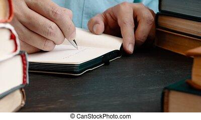 livres, concept., notebook., bibliothèque, notes, homme, prend, apprentissage