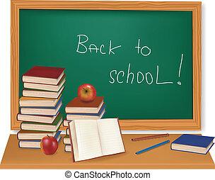 livres, desk., vector., école