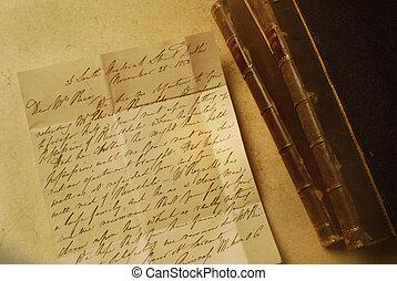 livres, deux, lettre, 1800s