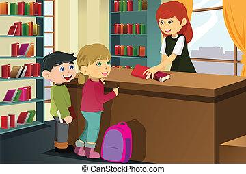 livres, emprunt, bibliothèque, gosses