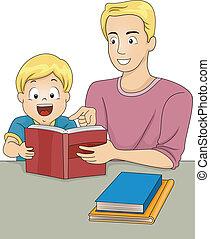 livres, lecture, père, fils