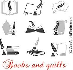 livres, manuscrit, pennes, encre