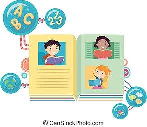livres, stickman, lecture, illustration, gosses