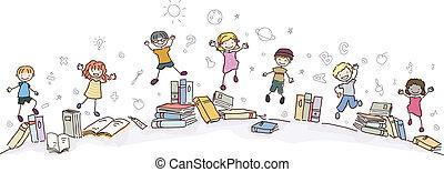 livres, stickman, sauter, gosses