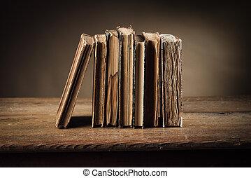 livres, table, ancien, vieux